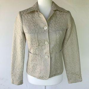 J. Crew Cream Cotton Blazer Size 0 Floral Print